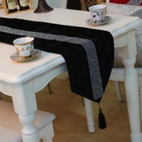 Simple&Fashion Quality Black Color Velvet Small Rhinestone Strip Table Runner Tablecloth/Bed Flag Customizing Accepted