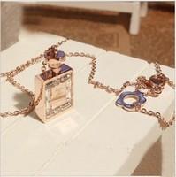 No . 5 perfume bottle necklace diamond rose gold titanium steel necklace chain Women
