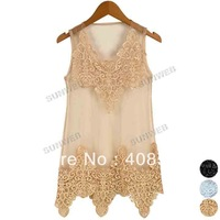 Elegant Women's Lace Crochet Net Yarn Splicing Sundress Stylish Ladies Sleeveless Vest Dress 3Colors 16829