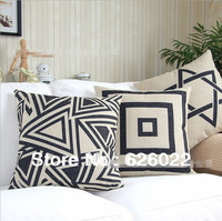 "Cotton Linen Pillow Case Retro Geometric patterns Hold Cushion Cover Waist Pillowcase DECORATIVE PILLOW 18"" Free Shipping"