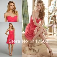 Coral short sweetheart pleats chiffon bridesmaid dress cheap BD044