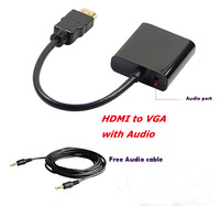 HDMI to VGA adapter cable with Audio male to female converter audio cable Free Shipping