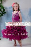 Christmas Purple Organza Beads Tea Wedding Flower Girl Dresses Girl Pageant Dresses Girl Skirt Custom SZ 2-6 8 10 12 JLF823081