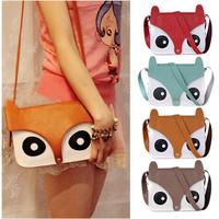 Retail 1pcs/lot 2013 new fashion ladies retro shoulder bag/PU cartoon cute School tote owl fox women bags