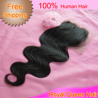Free Shipping Queen Hair Products Brazilian Virgin Hair Body Wave Frontal Swiss Lace Top Front Closures Bleached Knots