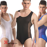 Male underwear lounge gauze one piece triangle panties breathable cool sports gym suit elastic body shaping