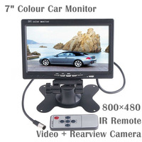 7 Inch TFT 800*480 HD Colour LCD Headrest Car Monitor, 2 AV IN Support TV DVD VCD Video Player & Rearview Camera