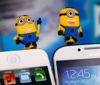 2013 New Arrival 3D Cute Cartoon Despicable Me Minion 3.5mm Mobile phones Earphone Headset Dust Plug Cap Prevent Cover,20pcs/lot