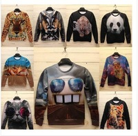 New!2013 Fashion Women/MenSpace print Galaxy hoodies Pullovers panda/tiger/cat animal 3D Sweatshirt top