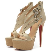 2013 New fashion brand ladies dress shoes red bottom high heels sandals sexy genuine leather platform pumps shoes for women