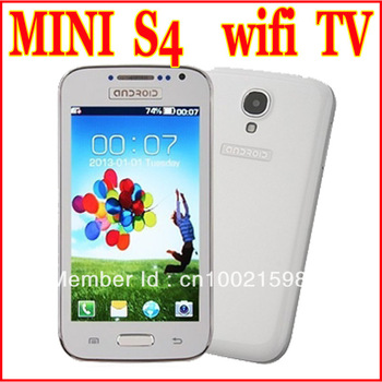 "New Unlocked GSM Quad Band Dual Sim Cards WIFI TV 4.0"" i9500 Mini S4 mobile phone Support Russian No Smartphone Free Shipping"
