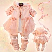 New 2013 Korean Children's Suits autumn girls clothing lace Hooded Coats Bow T-shirt Leggings 3 piece set 3 sets lot ZY1021