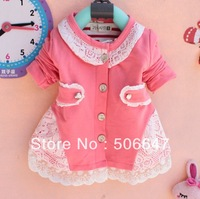 2013 autumn outfit brand children's clothing han edition girls T-shirt cardigan th hollow lace hit head cardigan