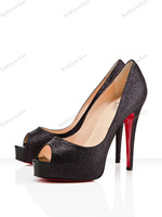 Туфли на высоком каблуке red bottoms lady's heels black suede golden spikes peep toe leopard platform sandals casual pumps