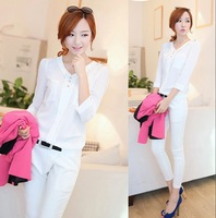 Spring and autumn women's shirt beauty V-neck sweet slim three quarter sleeve basic chiffon shirt