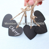100 x Mini Chalkboard Both Sides Wood Hearts with string For Red Winne Bottle Mark Wedding Christmas Party Free Shipping