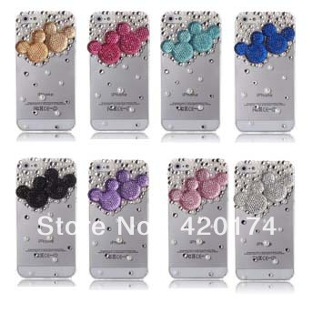 3D Bling Crystal Phone Protection For Apple iPhone 5 Pearl Mickey Minnie Mouse Head Diamond Case Cover