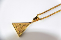 Free shipping 14k goldplated triangle ancient characters cannabis necklace