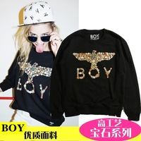 The trend of the boy london cross gem lovers metal color male Women eagle pullover sweatshirt lovers  Free shipping