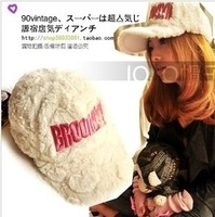 Q brooklyn plush baseball cap male hat female winter thermal cap