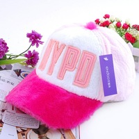 Hat autumn and winter hat letter fashion plush baseball cap male general hat girls