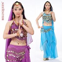 BELLYQUEEN~Matching Indian Dance Costume,Performance Belly Dance Free Size Costume 5Pcs( Top+Belt+Skirt+Headdress+Headveil)