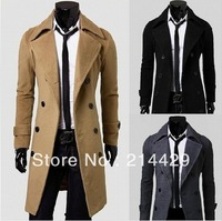 Free ship 2013 Hot Stylish  Men Slim Designed Jacket  Woolen Jacket Double Breasted Trench Coat black grey camel long overcoat
