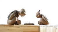 Playing chess (ceramic of art by handmade)14*17*28
