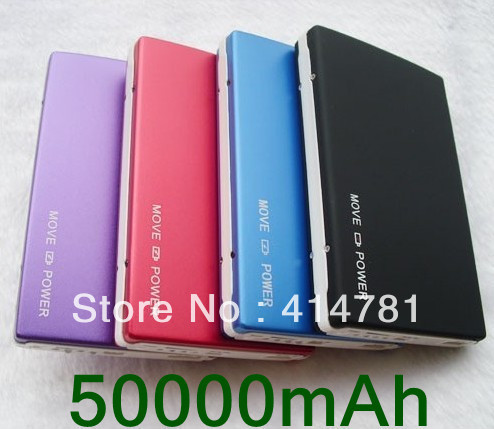 Free shipping 2 Usb Port 50000MAH Power Bank 50000mAh portable charger External Battery for iphone 5 ipad, samsung galaxy S3(China (Mainland))
