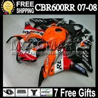 7gifts For HONDA F5 CBR600RR 07 08 CBR 600 Repsol Orange 600RR Q7654 Injection CBR600 RR CBR600F5 red black 08 2007 2008 Fairing