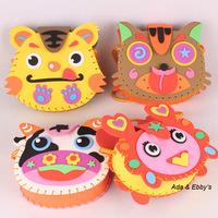 Free Shipping Eva DIY Cartoon Shoulder Bags, Handmade Sewing Vehicle & Animal Handbags, Child Educational Toys, Birthday Gifts