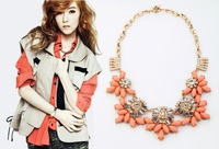 free shipping 2014 new design orange necklace clear rhinestone necklace length 46cm