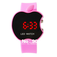 Holiday Sale ! Present Gift ! Fashion Ladies Cute Pink Apple Led Digital Watch 10 Colors Available Wholesale Price Free Shipping