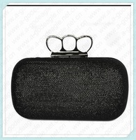 High quality hot black frosted glass cloth ring fashion evening knuckle clutch bag free shipping 3026-1