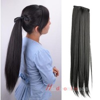 Long Lady Girl Straight Ponytail Wigs Pony Hair Hairpiece Extension Black M3AO