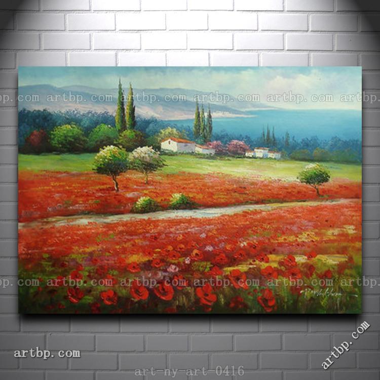 Pintura a óleo da paisagem Árvores Casa no contexto Colina Montanha Poppy Flower Field Canvas quadros na parede(China (Mainland))