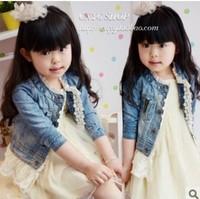 Wholesale 5pcs/lot new 2015 spring baby girls fashion lace denim jacket/coat children's clothes outwear