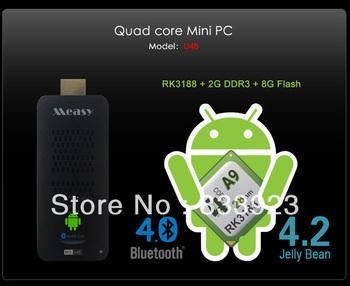 2013 New Arrival Full HD 1080P U4B Super quad-core RK3188 Mini PC Andriod 4.2 TV Dongle Video Call / Bluetooth