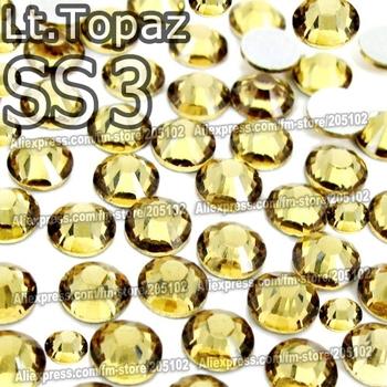 SS3 1.4mm Lt.Topaz Nail Rhinestones 1440pcs/bag Non HotFix FlatBack Crystals glass strass Glitters for nail Art Decoration