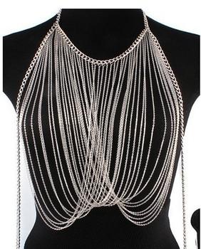 Min order is 10 USD,2013 gold multi layer berast body chain , Fairy fashionJewelry,Original Design body chain Jewelry