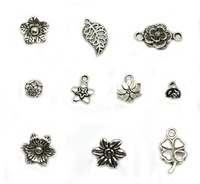 Free shipping DIY mixed model H25-H34 flower leaf clover Tibet silver charms vintage Accessories pendant Beads 100pcs/lots