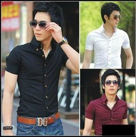 Free shipping Men's shirts .2013 spring and summer male slim solid color metal bag buckle short-sleeve shirt