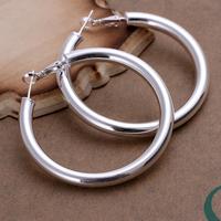 Free shipping lowest price wholesale for women's 925 silver earrings 925 silver fashion jewelry hollow hoop Earrings SE149
