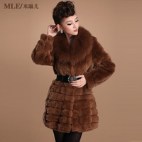 2013 Autumn and Winter Women's Genuine Rex Rabbit Fur Coat with Fox Fur Collar Female Long Outerwear  VK1115