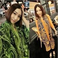 2013 fall women designer fashion long pashmina scarf scrawl print big size Noble Shawl wrap green orange color