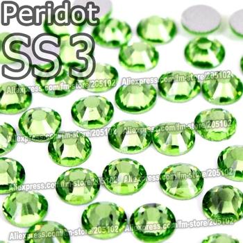 SS3 1.3-1.4mm,1440pcs/bag Non HotFix FlatBack Rhinestones, Peridot Green Glue-on loose nail crystals DIY strass stones