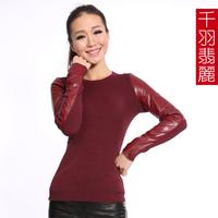 Wine red genuine leather clothing turtleneck o-neck sheepskin sleeves shirt women's sweater basic shirt