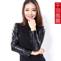 Genuine leather sheepskin leather buckle on sleeves turtleneck shirt plus cotton women's genuine leather clothing knitted basic