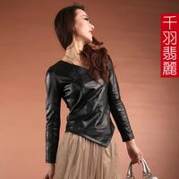 2013 spring genuine sheepskin leather clothing genuine leather genuine leather shirt lace shirt genuine leather female short