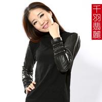 Sheepskin patchwork 2012 o-neck shirt plus cotton women's genuine leather clothing sweater basic shirt